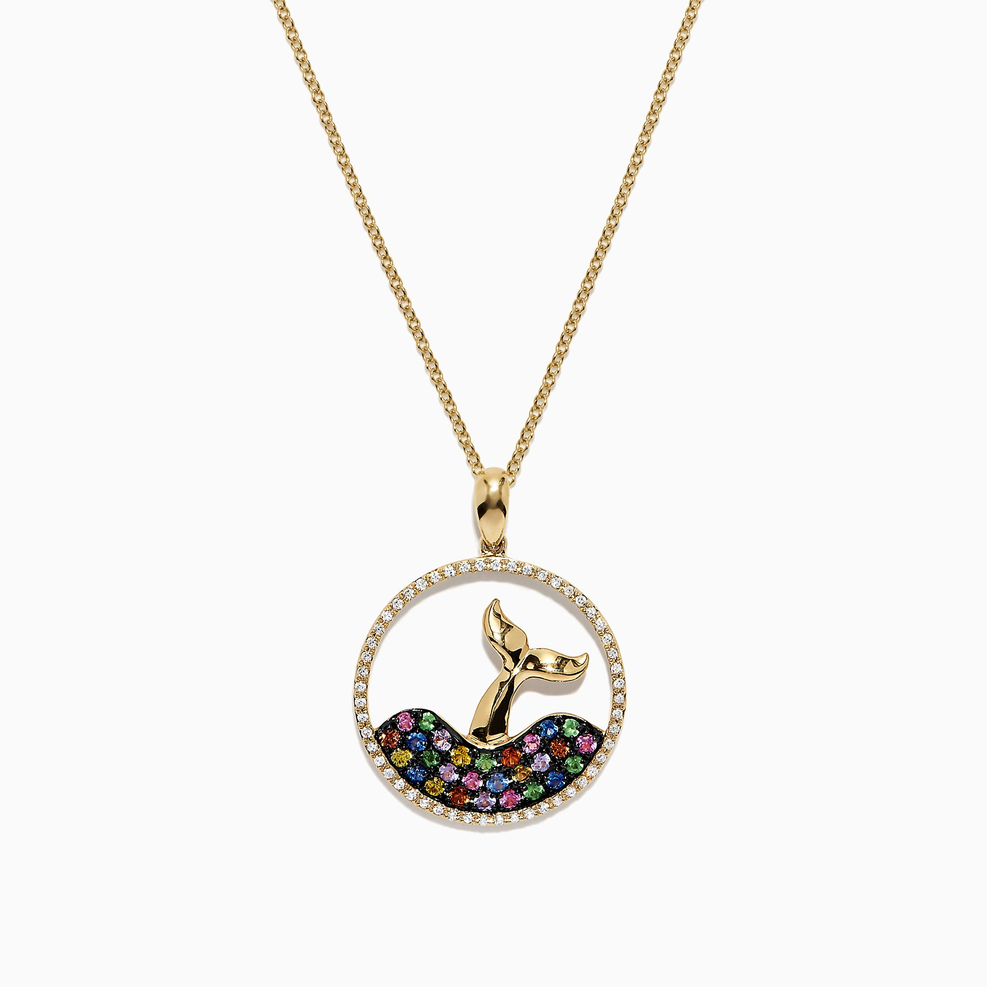 Effy Watercolors 14K Yellow Gold Multi Sapphire and Diamond Whale's Tail Pendant, 0.84 TCW