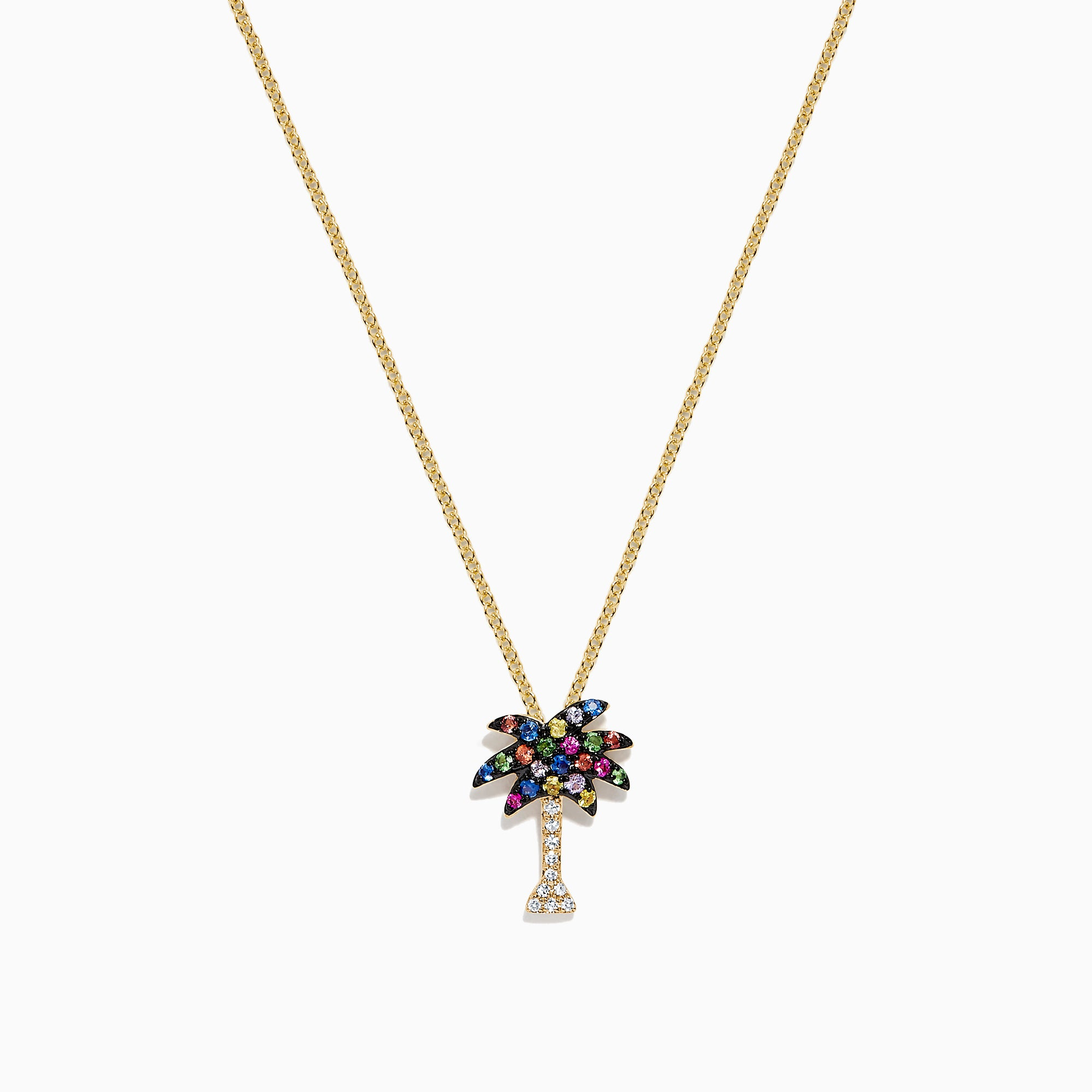 Effy Watercolors 14K Yellow Gold Multi Sapphire & Diamond Palm Tree Pendant, 0.33 TCW