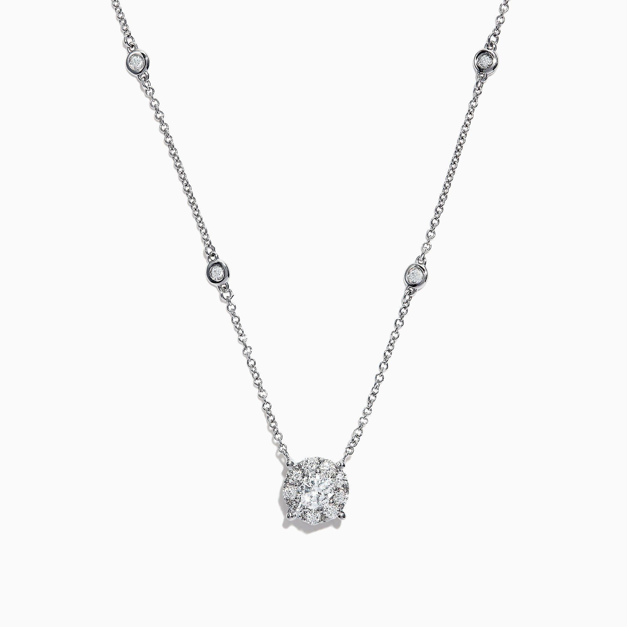 Effy Pave Classica 14K White Gold Diamond Necklace, 0.82 TCW