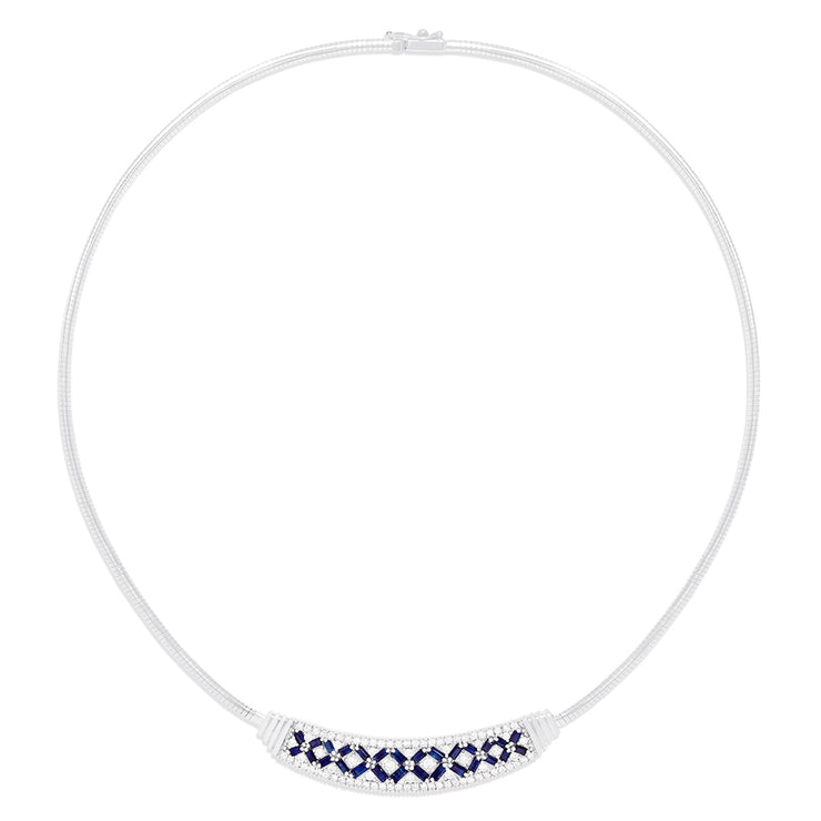 Effy 14K White Gold Blue Sapphire and Diamond Necklace, 3.45 TCW