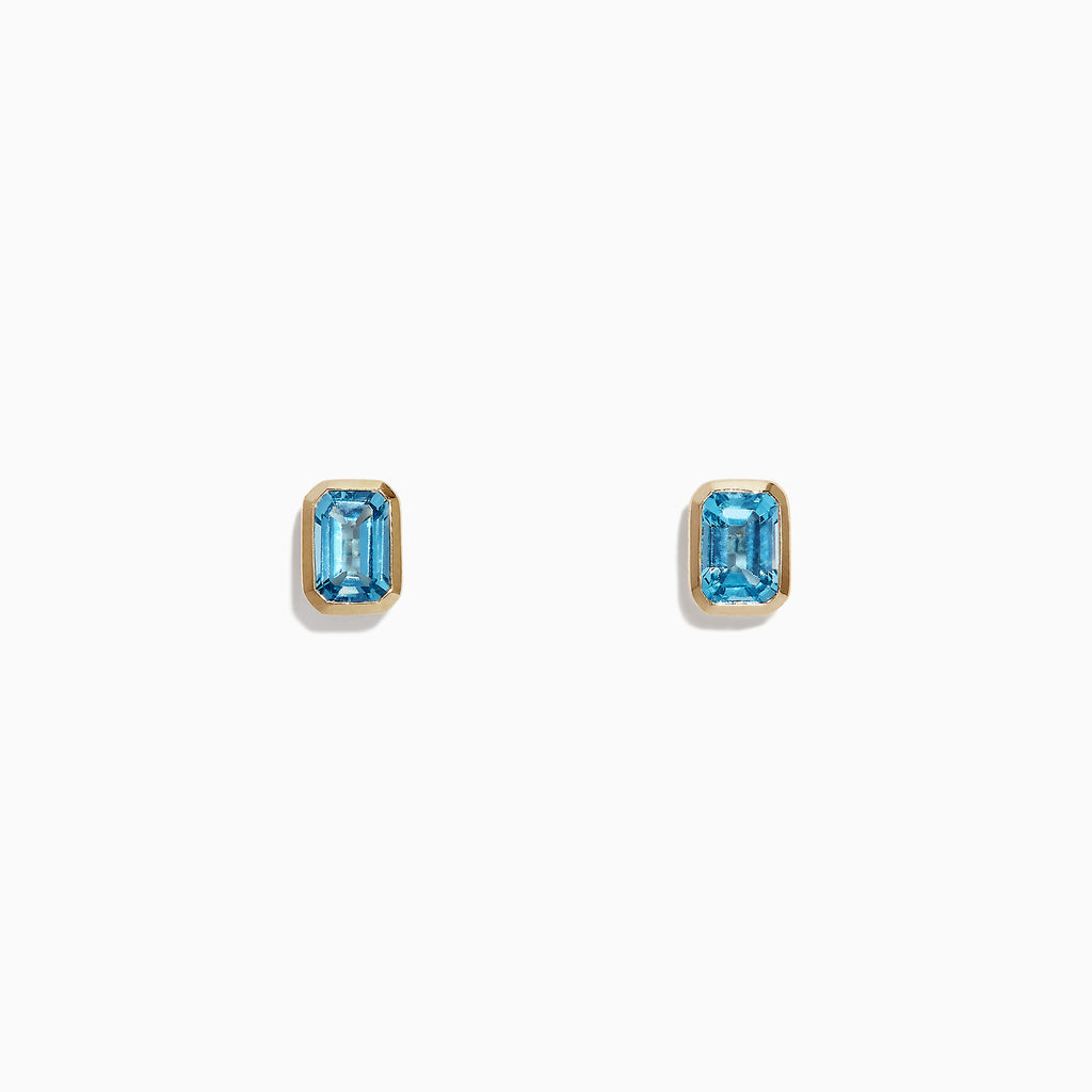 Effy Ocean Bleu 14K Yellow Gold Blue Topaz Stud Earrings, 1.37 TCW