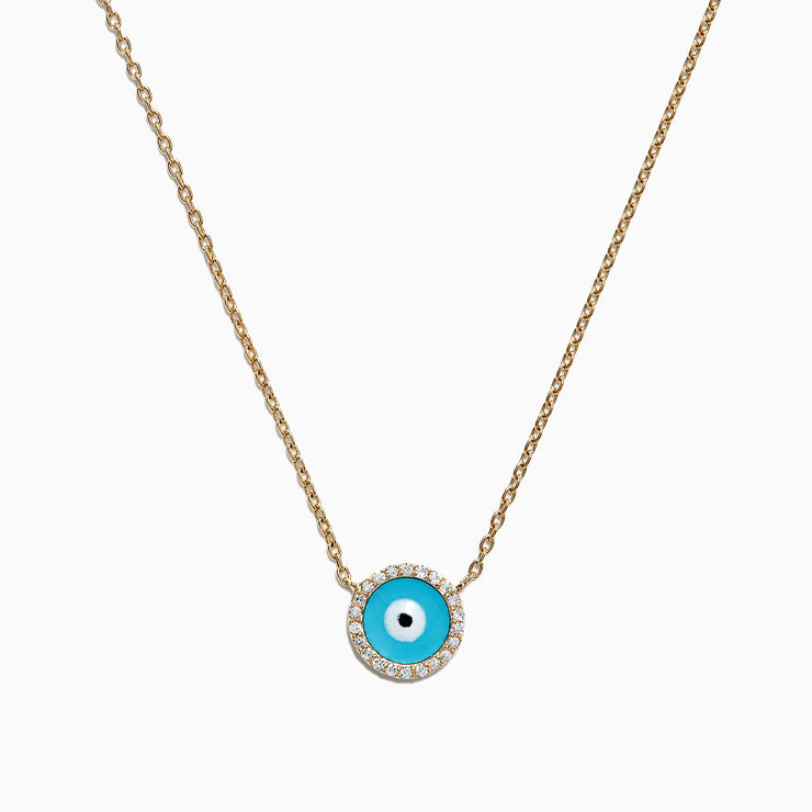 Effy Novelty 14K Yellow Gold Diamond Enamel Evil Eye Necklace, 0.09 TCW