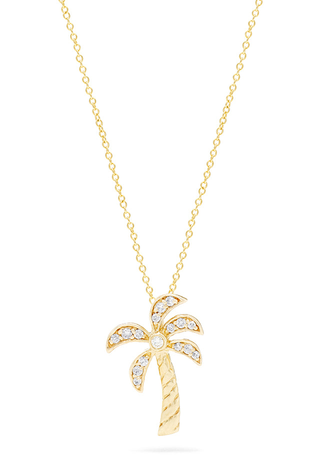Effy Novelty 14K Yellow Gold Diamond Palm Tree Pendant, 0.11 TCW