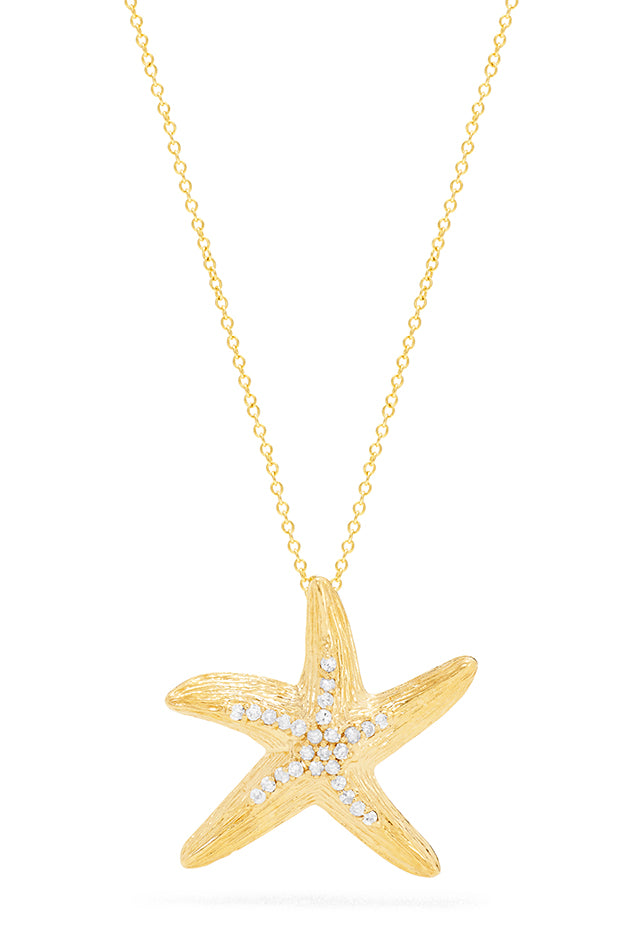 Effy Seaside 14K Yellow Gold Diamond Starfish Pendant, 0.13 TCW