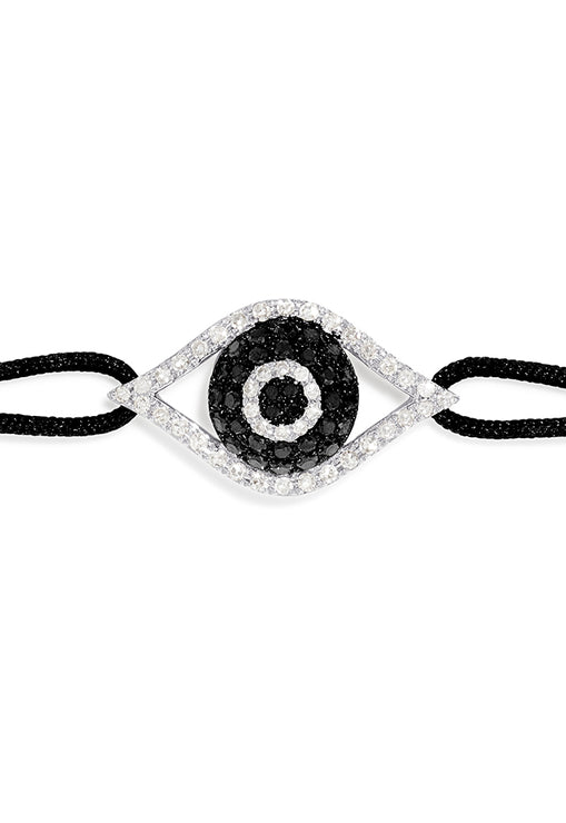 Effy Novelty White Gold Black & White Diamond Evil Eye Bracelet, 0.43 TCW