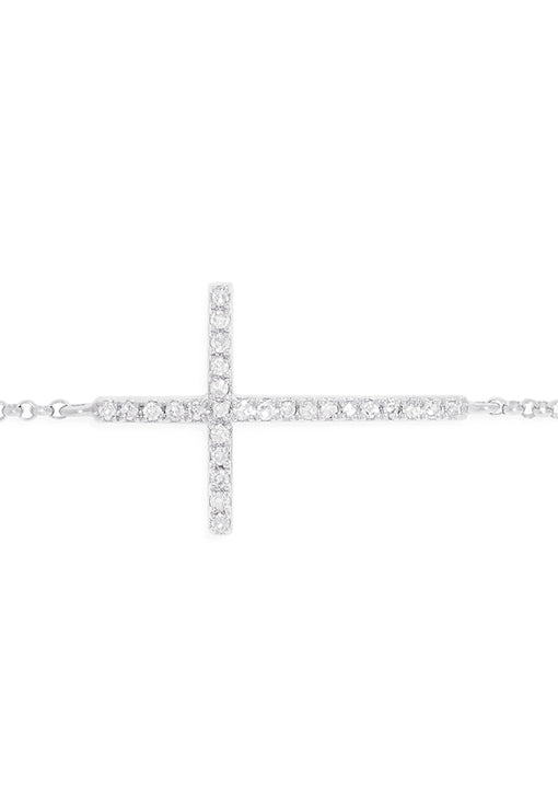 Effy Novelty 14K White Gold Diamond Cross Bracelet, 0.09