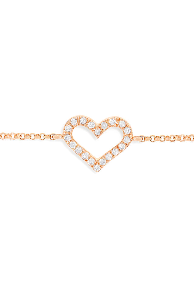 Effy Novelty 14K Rose Gold Diamond Heart Bracelet, 0.09 TCW