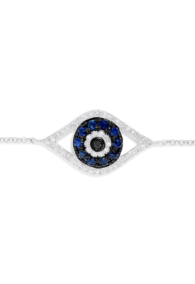 Effy Novelty 14K White Gold Sapphire & Diamond Evil Eye Bracelet, 0.43 TCW