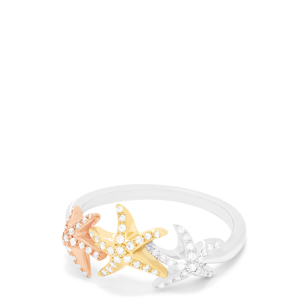 Effy Seaside 14K Tri Color Gold Diamond Starfish Ring, 0.23 TCW