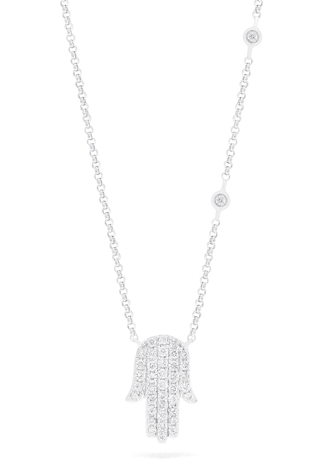 Effy Novelty 14K White Gold Diamond Hamsa Pendant, 0.26 TCW