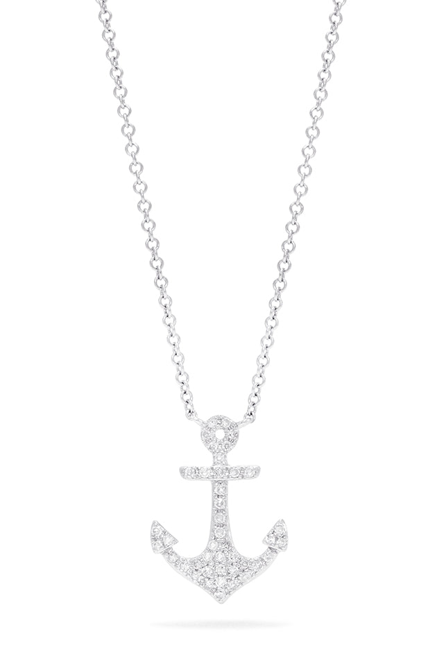 Effy Novelty 14K White Gold Diamond Anchor Pendant, 0.15 TCW