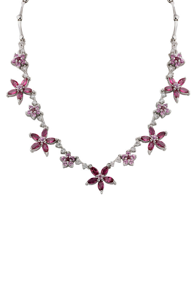 14K White Gold Multi Gemstone & Diamond Flower Necklace