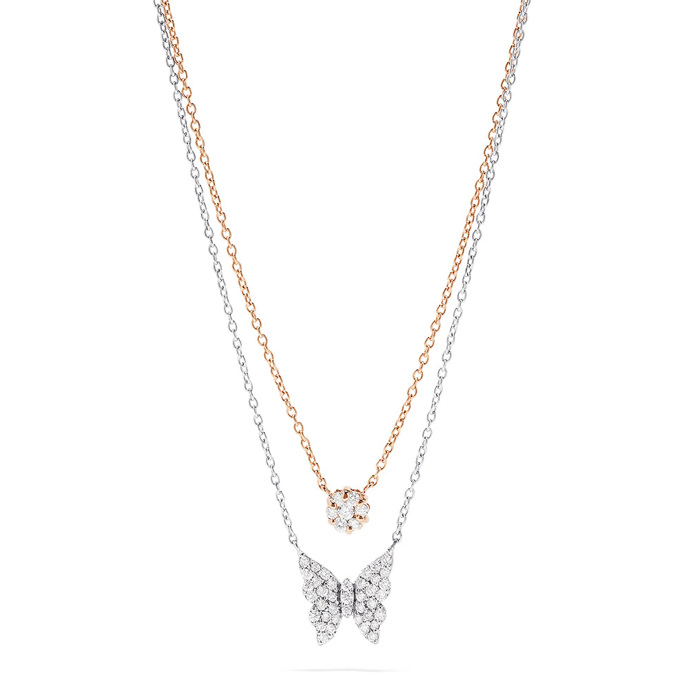 Effy Novelty 14K Two Tone Gold Diamond Butterfly Necklace, 0.46 TCW