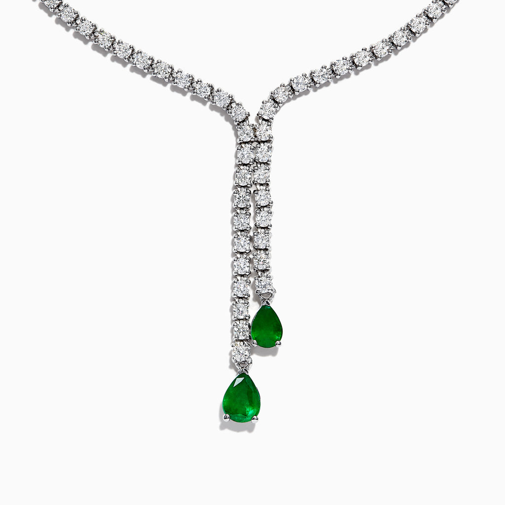 Effy Brasilica 14K White Gold Emerald and Diamond Drop Necklace, 3.12 TCW