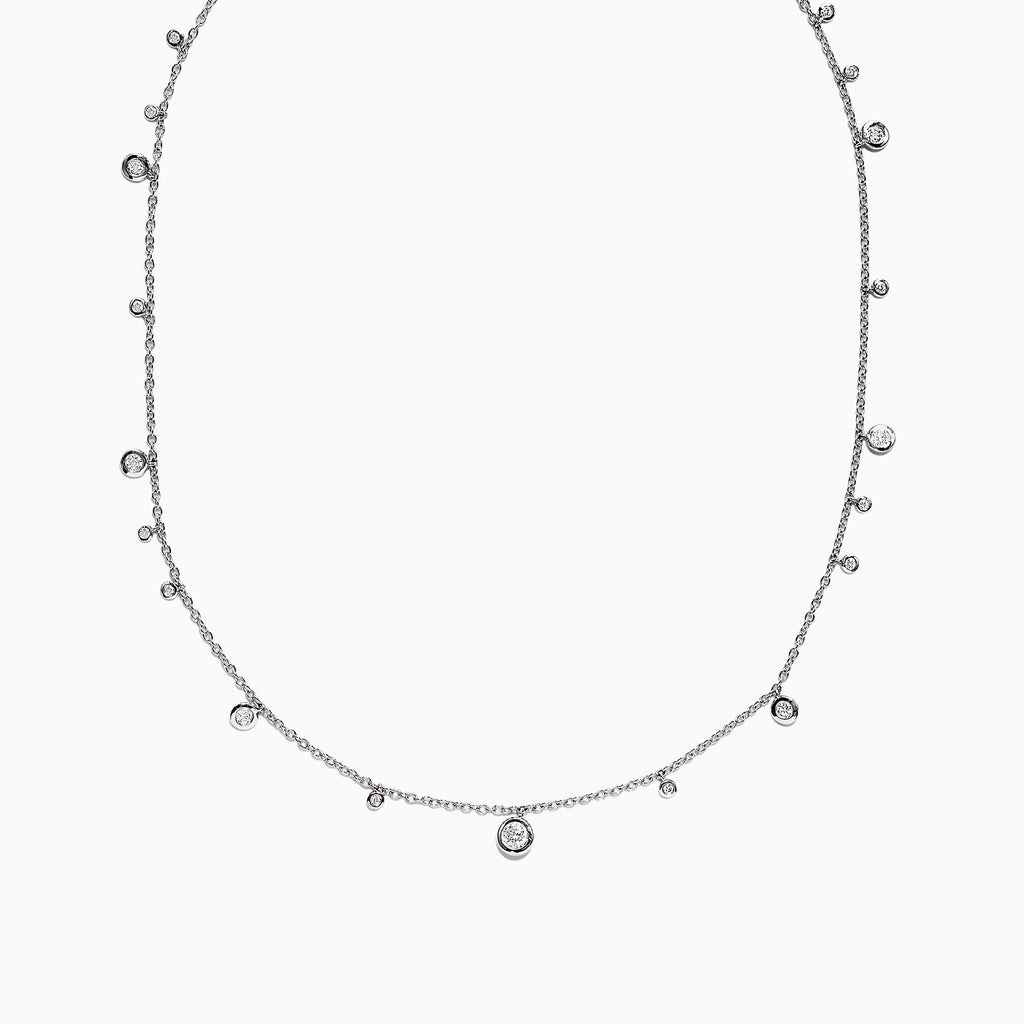 Effy 14K White Gold Diamond Bezel Set Necklace, 0.72 TCW