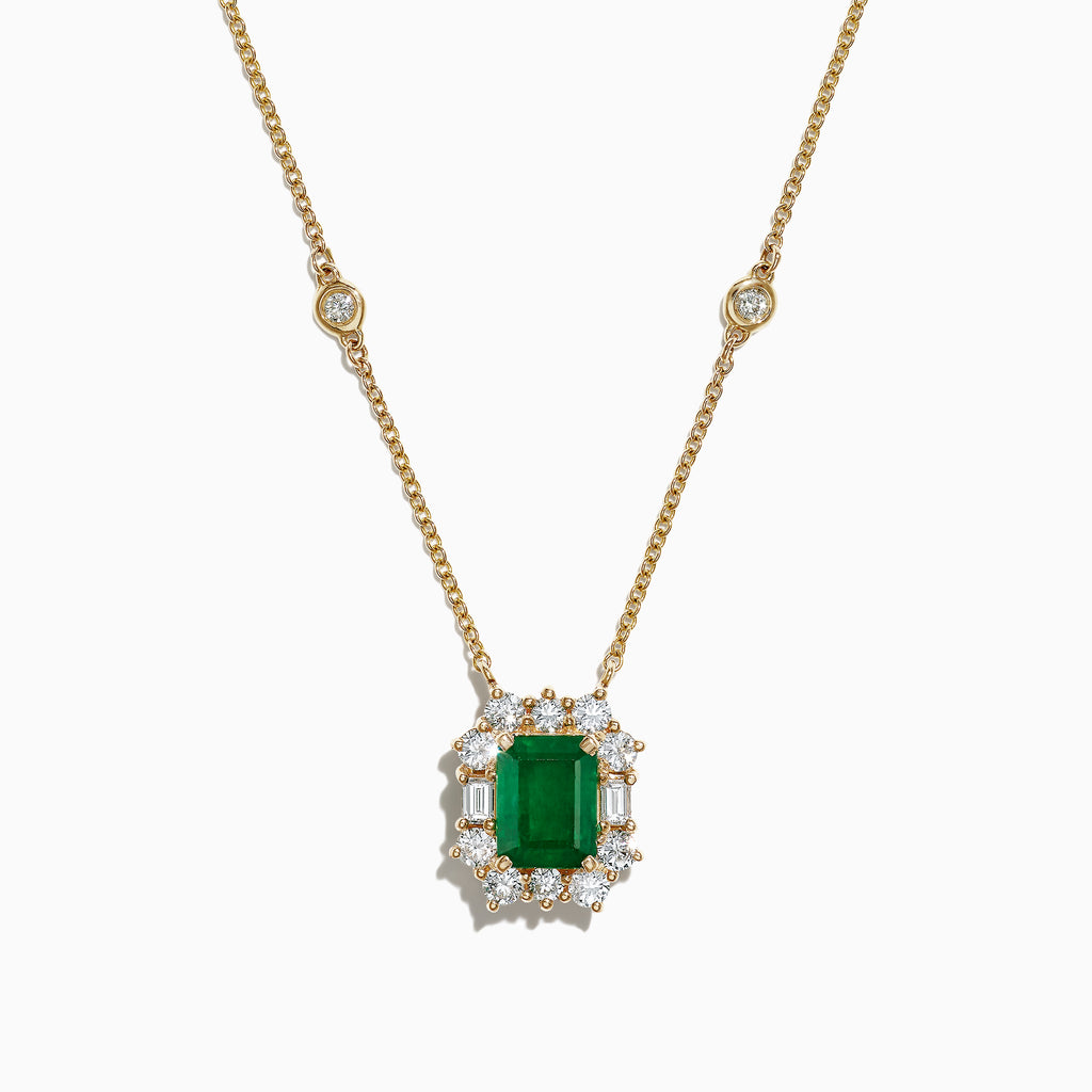 Effy Brasilica 14K Yellow Gold Emerald and Diamond Pendant, 2.26 TCW