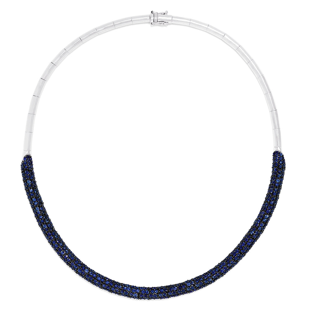 Effy 14K White Gold Blue Sapphire Necklace, 14.07 TCW