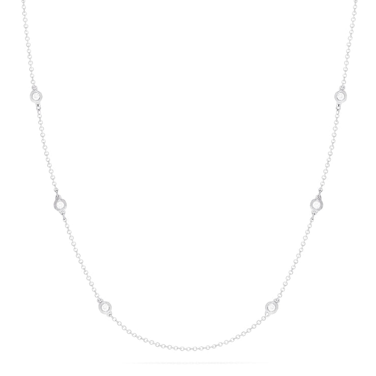 Effy 14K White Gold Diamond Station Necklace, 0.18 TCW