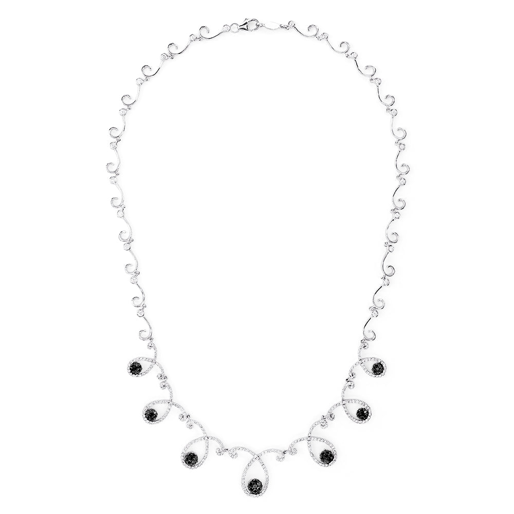 Effy 14K White Gold Black and White Diamond Necklace, 2.54 TCW