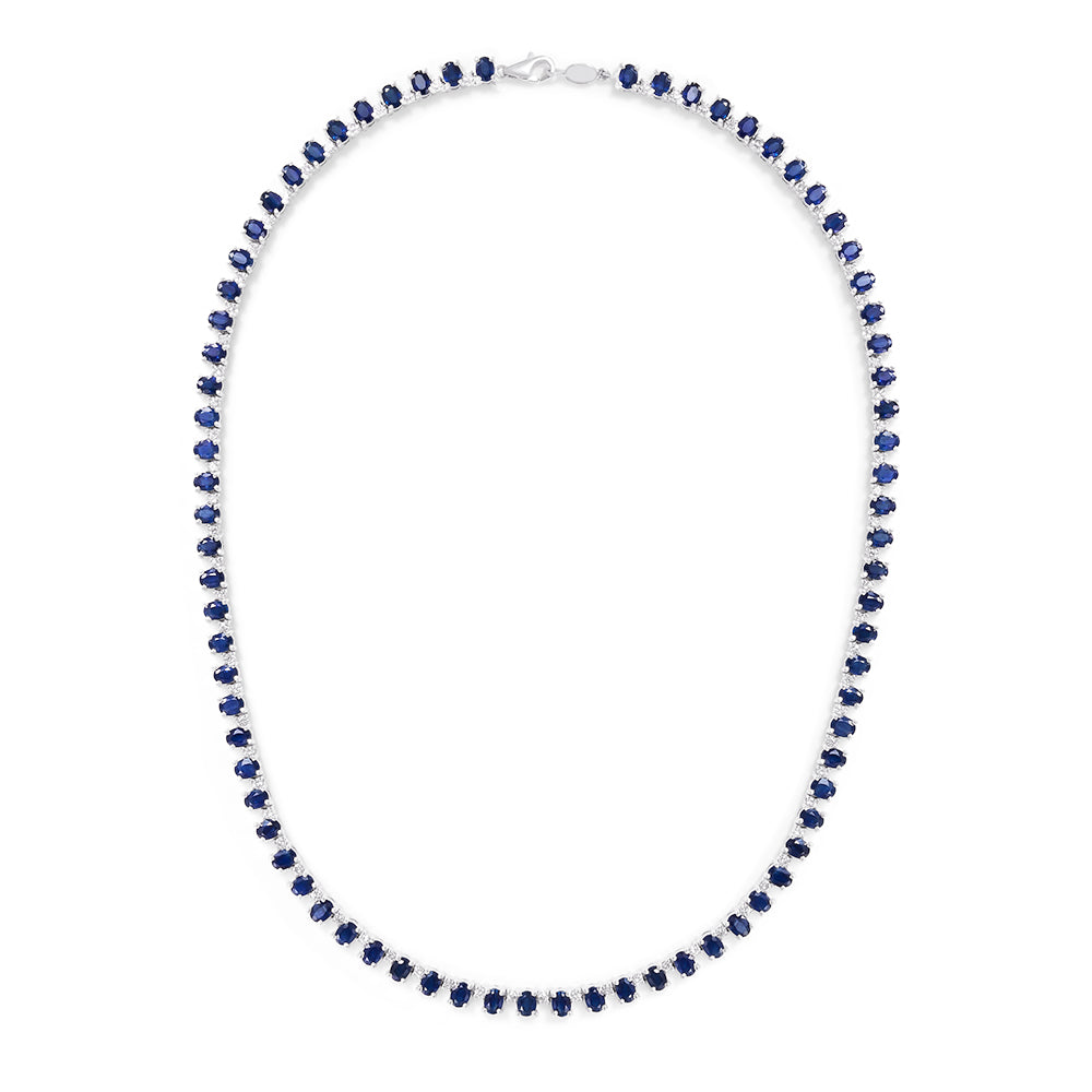 Effy 14K White Gold Natural Sapphire and Diamond Necklace, 19.78 TCW