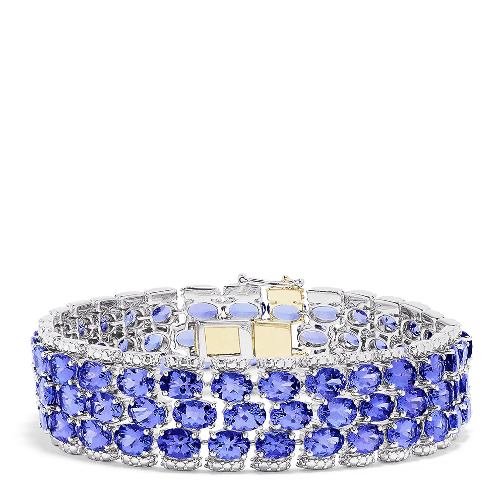 Sterling Silver with 14K Yellow Gold Lock Tanzanite Bracelet, 50.00 TCW