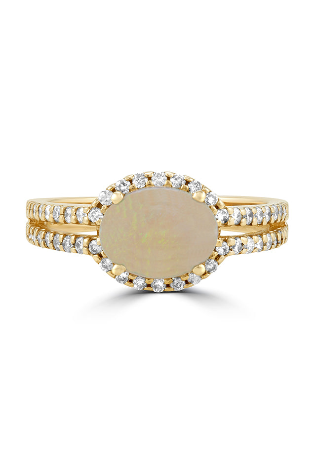 Effy Aurora 14K Yellow Gold Opal and Diamond Ring, 1.40 TCW