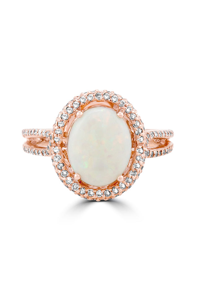 Effy Aurora 14K Rose Gold Opal and Diamond Ring, 2.47 TCW