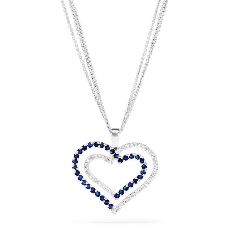 Effy 14K White Gold Blue Sapphire & Diamond Double Heart Pendant, 1.27 TCW
