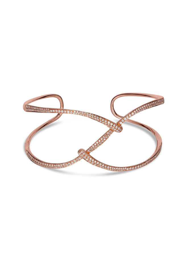 Effy Pave Rose 14K Rose Gold Diamond Bangle, 1.28 TCW