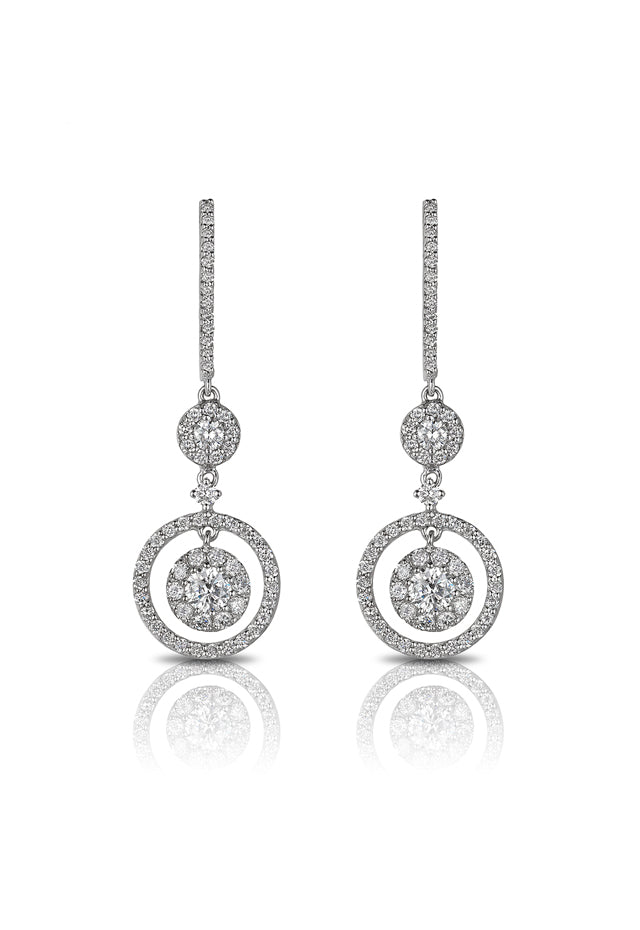 Pave Classica 14K White Gold Diamond Earrings, 1.52 TCW