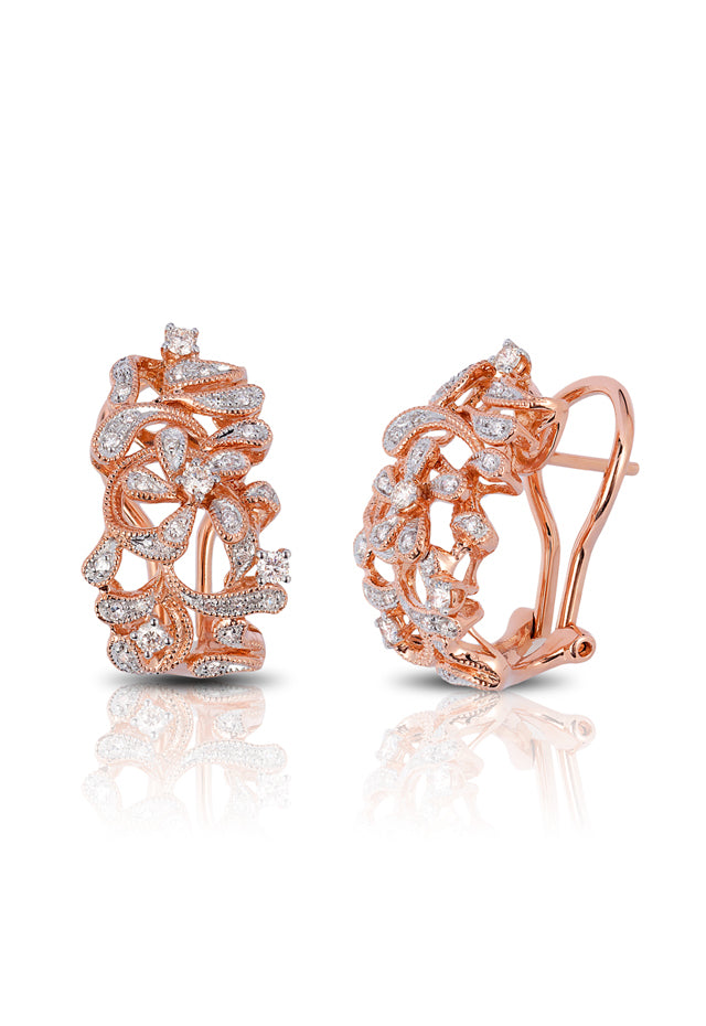 Pave Classica 14K Rose Gold Diamond Earrings, .39 TCW