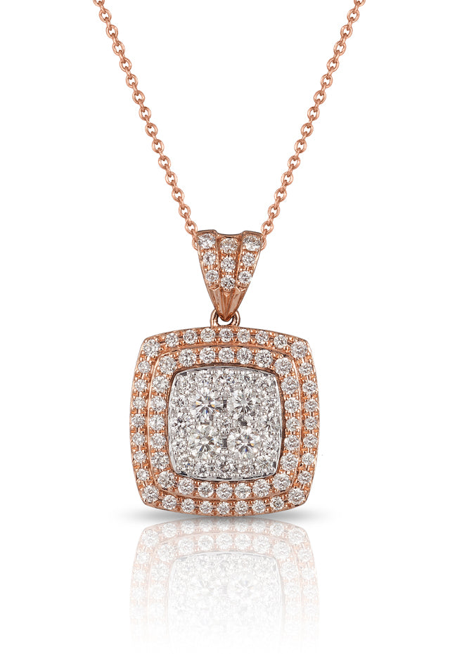 Pave Classica 14K Rose Gold Diamond Pendant, .88 TCW