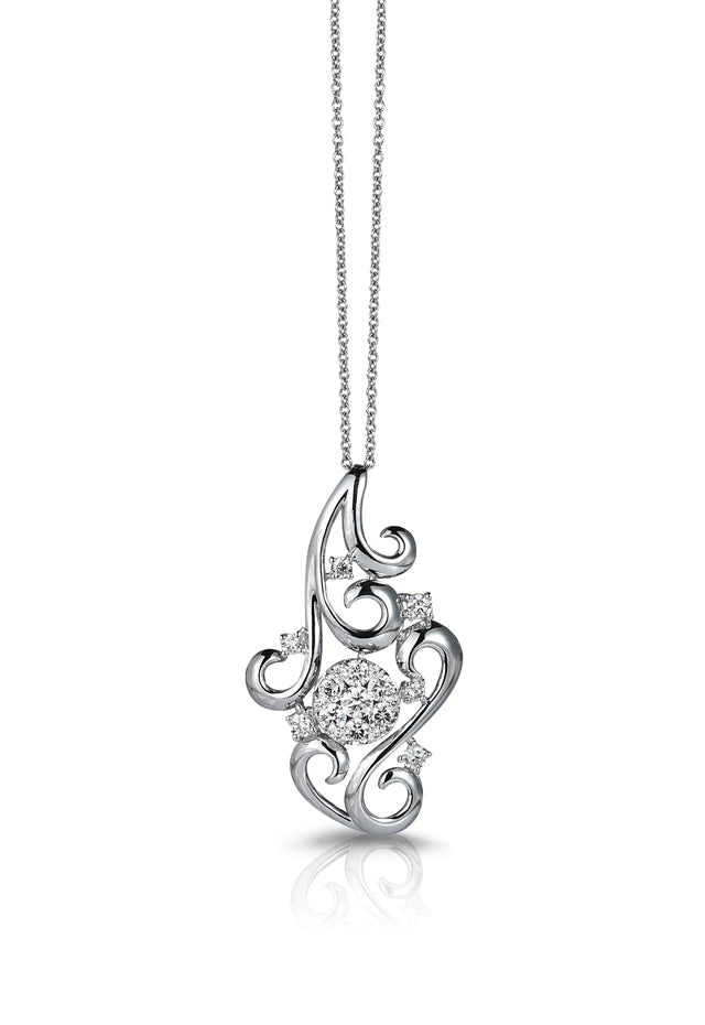 Effy Bouquet 14K White Gold Diamond Filigree Pendant, 0.70 TCW