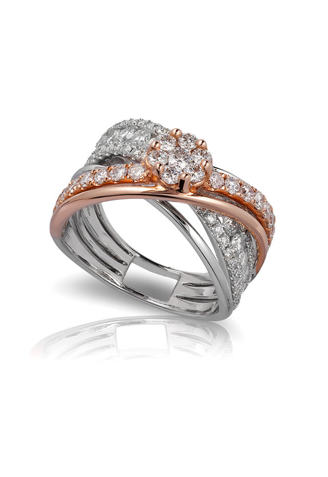 Pave Classica Two Tone Gold Diamond Ring, 1.96 TCW