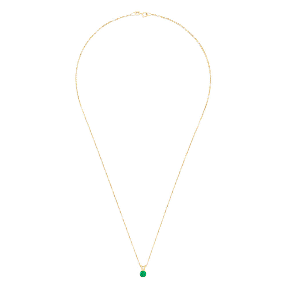 Effy 14K Yellow Gold Emerald Solitaire Pendant, 0.48 TCW