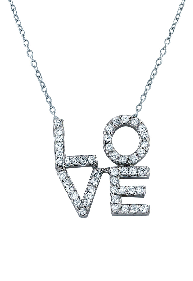14K White Gold Diamond Love Pendant, .35 TCW