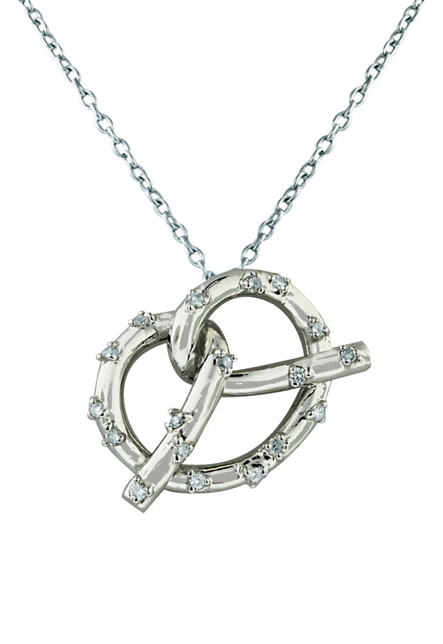 14K White Gold Diamond Pretzel Pendant, .13 TCW