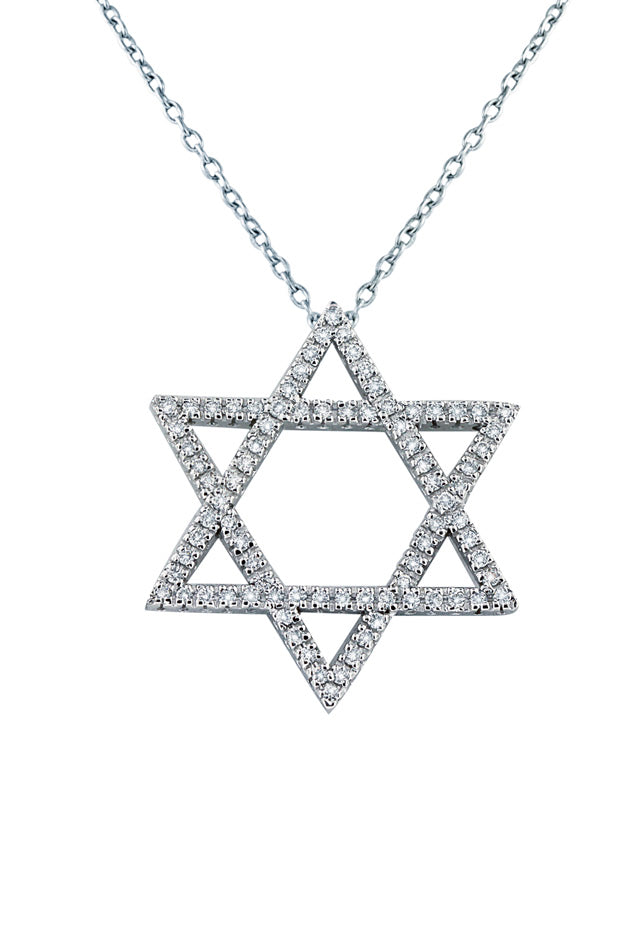 14K White Gold Diamond Star of David Pendant, .62 TCW