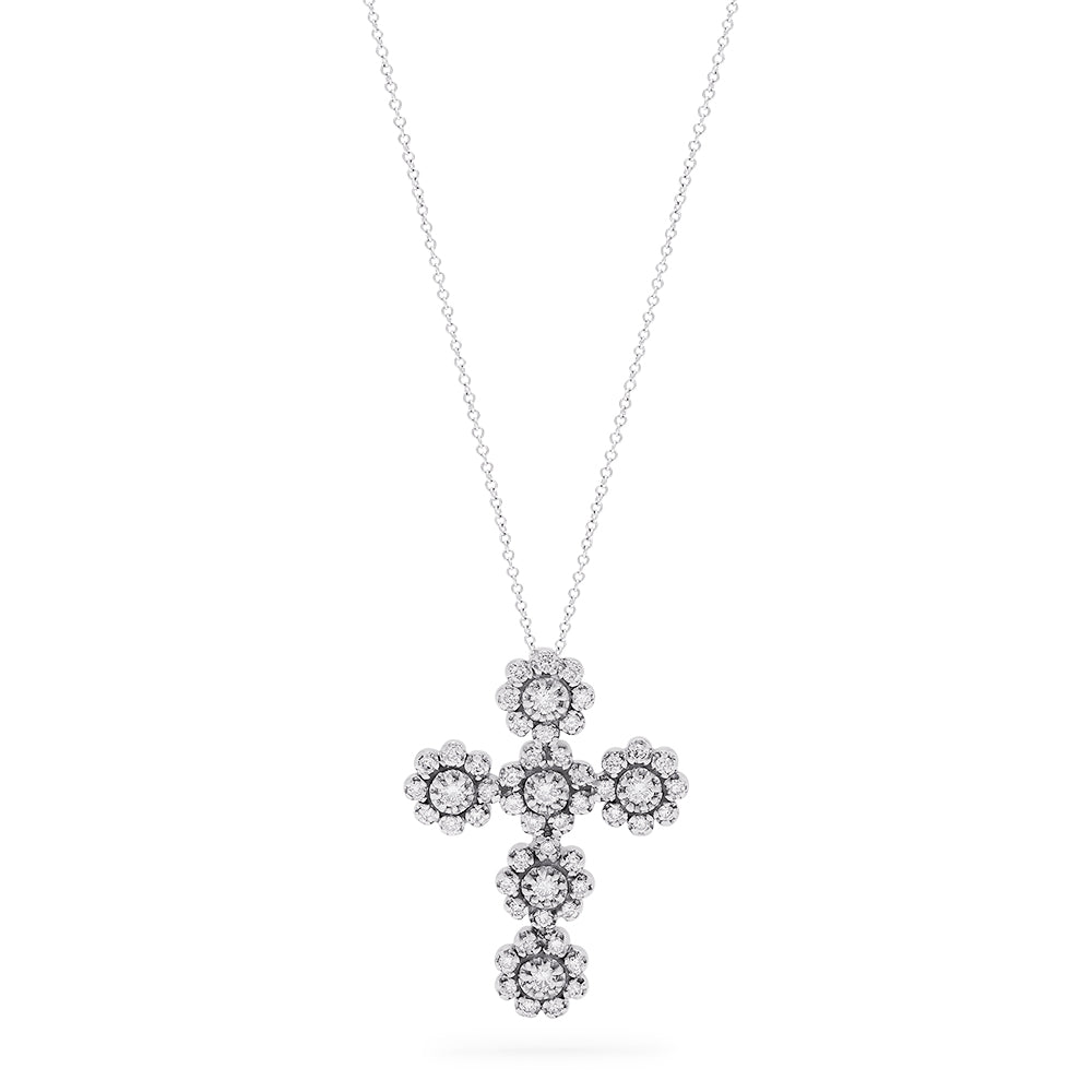 Effy 14K White Gold Diamond Cross Pendant, 0.71 TCW