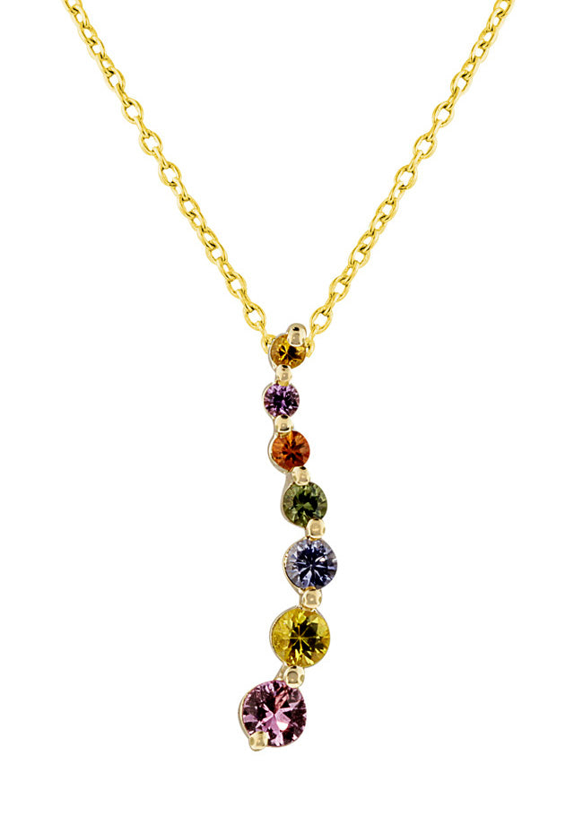 14K Yellow Gold Multi Sapphire Journey Pendant, .94 TCW