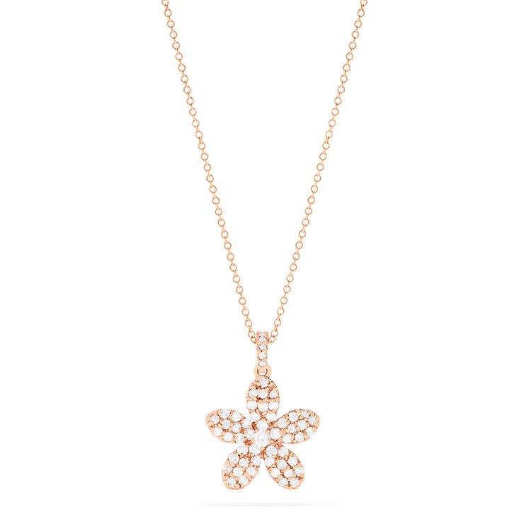 Effy 14K Rose Gold Diamond Flower Pendant, 0.60 TCW