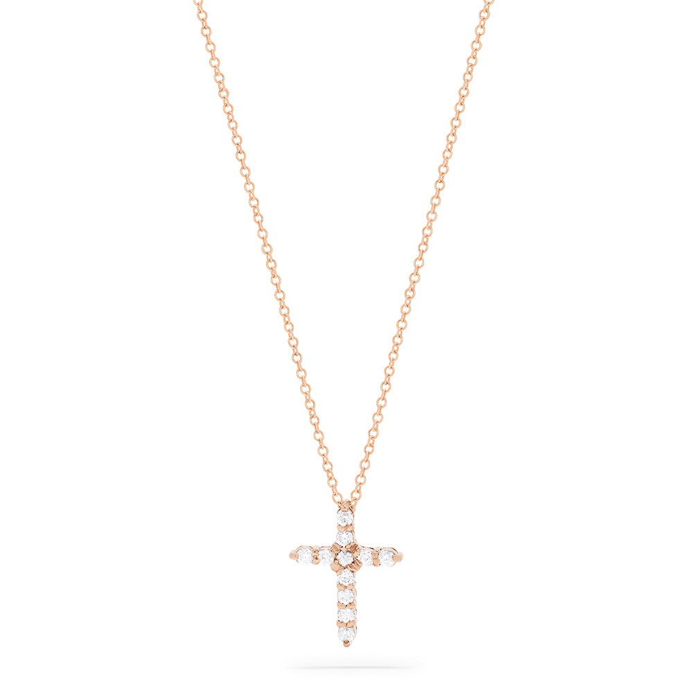 Effy Pave Rose 14K Gold Diamond Cross Pendant, 0.22 TCW