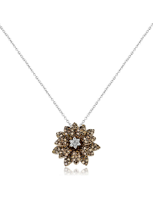 Effy 14K White Gold Cognac and White Diamond Flower Pendant, 2.21 TCW