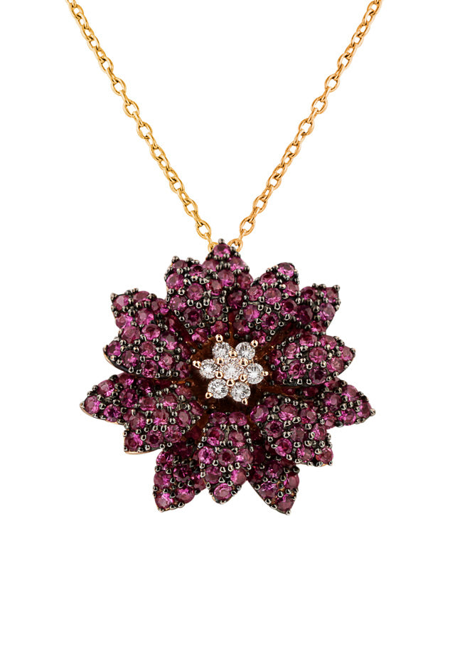Jardin Bloom Ruby and Diamond Flower Pendant, 2.15 TCW