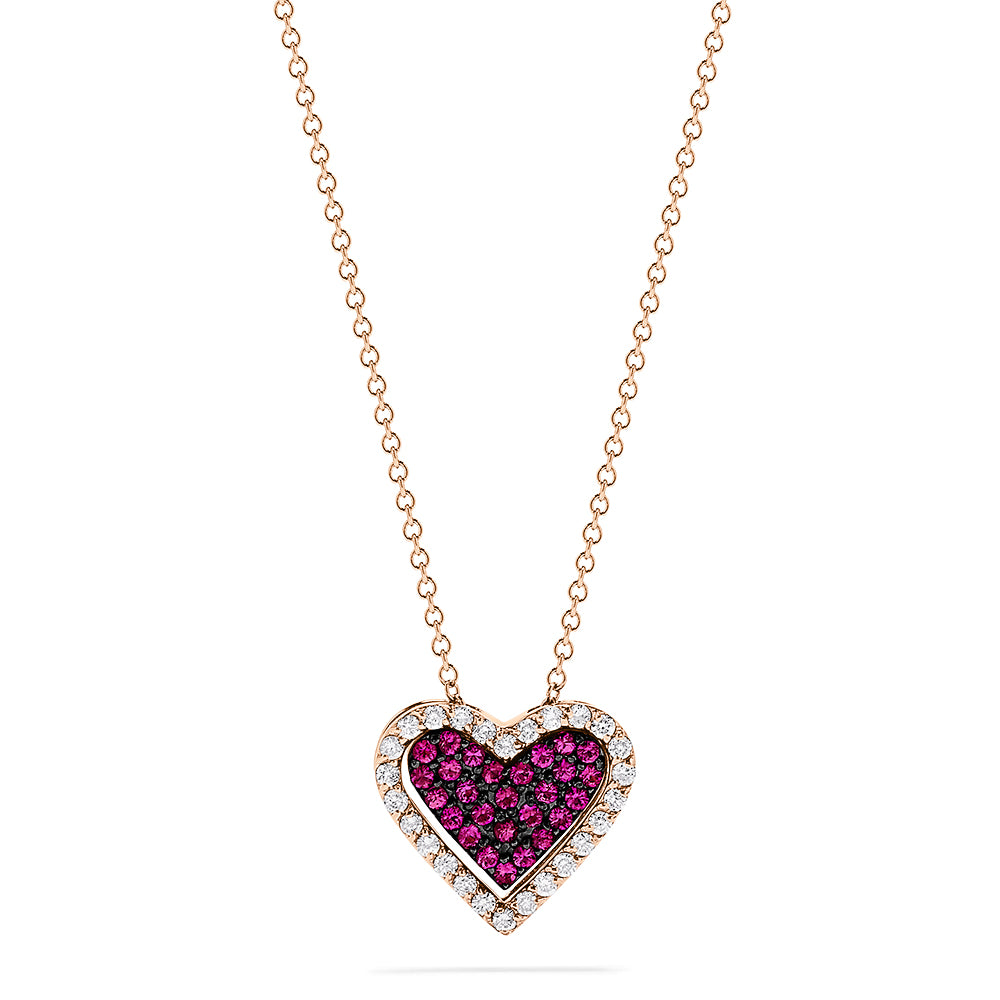 Effy Ruby Royale 14K Rose Gold Ruby and Diamond Heart Pendant, 0.70 TCW