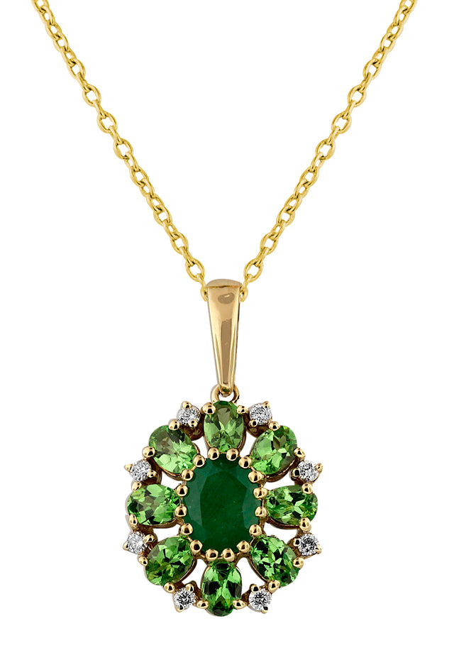 Effy 14K Yellow Gold Emerald, Tsavorite & Diamond Pendant, 2.97 TCW
