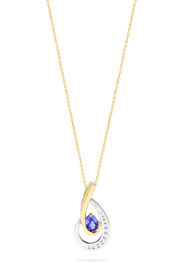 Effy Gemma 14K Two Tone Gold Tanzanite and Diamond Pendant, 0.87 TCW
