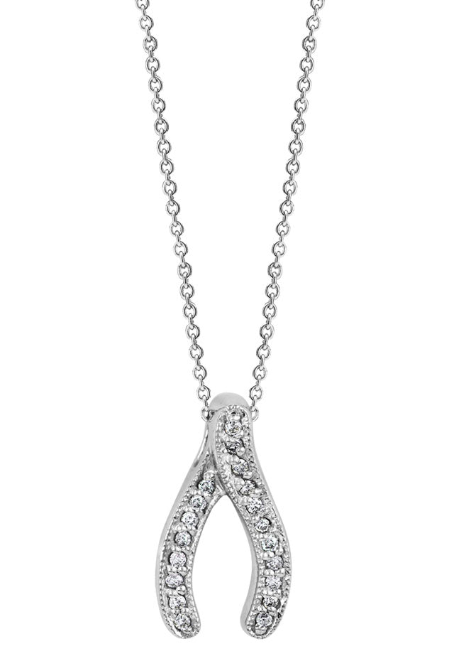 14K White Gold Diamond Wishbone Pendant, .09 TCW