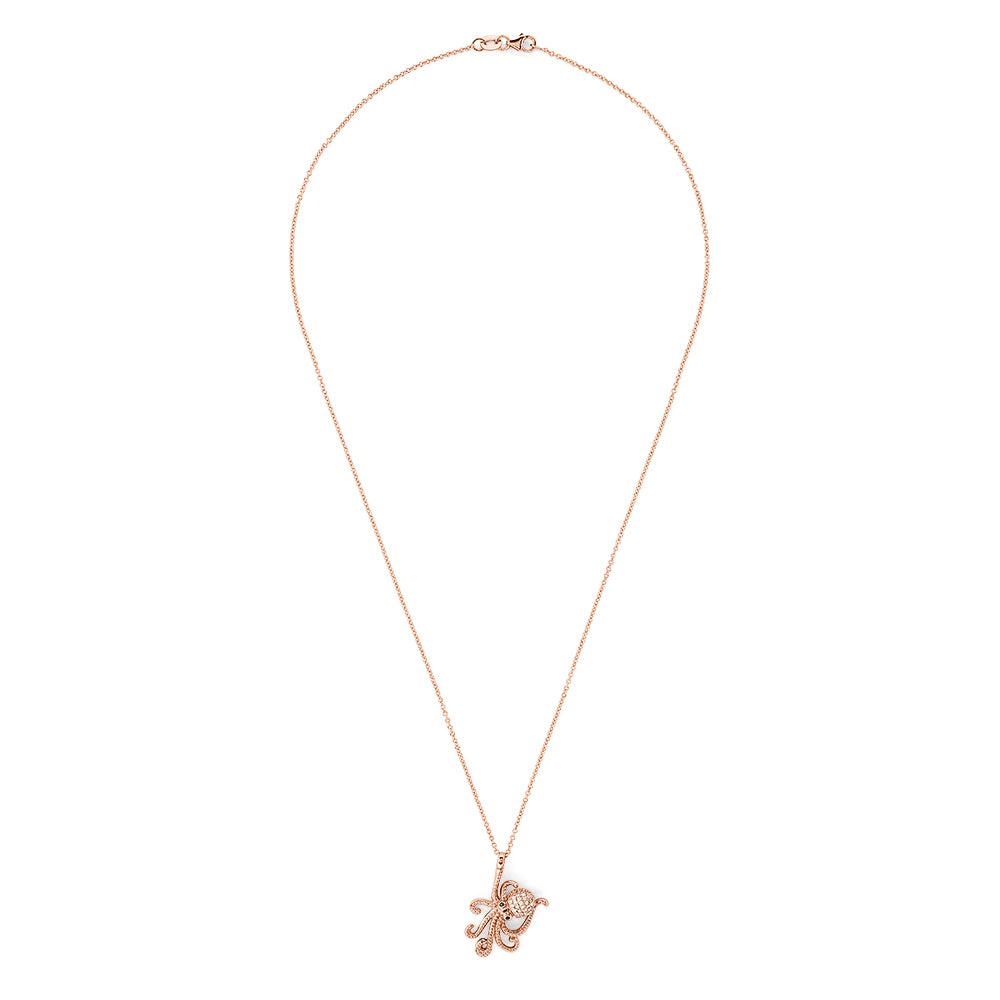Effy Novelty 14K Rose Gold Diamond Octopus Pendant, 0.20 TCW