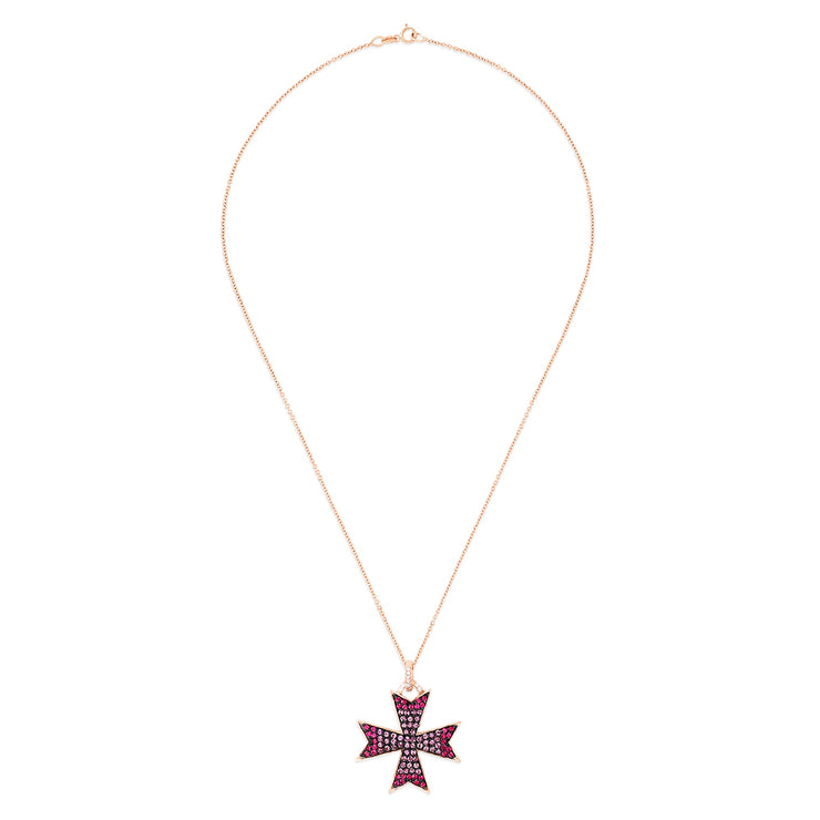 Effy 14K Rose Gold Pink Sapphire and Diamond Cross Pendant, 2.15 TCW